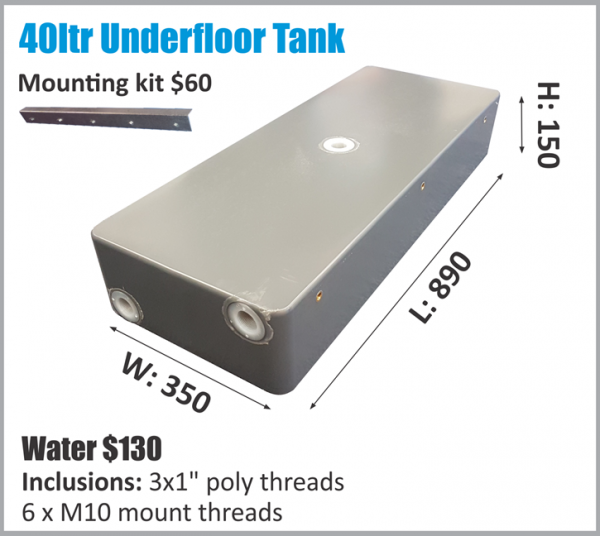 40 liter underfloor tank for all tupes of recreation vehicles