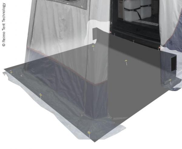 Rear tent floor for motorhome