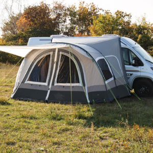 Rear tent with bus awning for motorhome