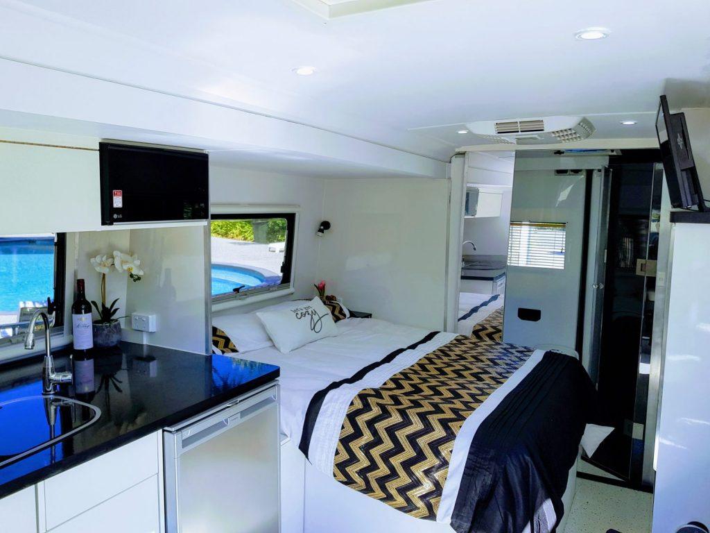Interior of campervan from the door